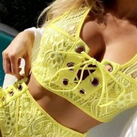 Fashion Summer Hot Sale Chest Bandage High Waist Two Piece Bikini Swimsuit Yellow