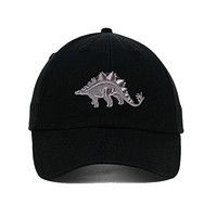 Dinosaur Silver Embroidered Soft Unstructured Hat Baseball Cap Black