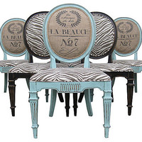 French Country Chic Upholstered Painted Aqua Blue Black Burlap Feed Sack Dining Chairs