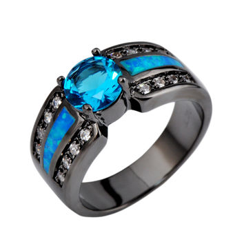 Summer Fashion Charming Men&Women Ring Blue Sapphire Opal Rings Anel Zircon 14K Black Gold Filled Jewelry Wedding rings RB0302