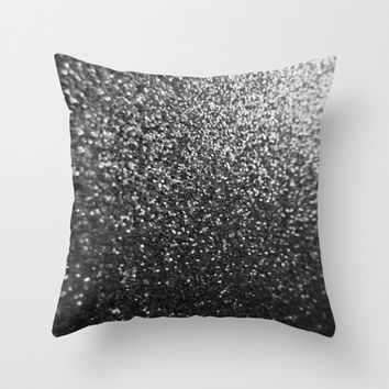 Silver Sparkle Glitter Throw Pillow by xjen94