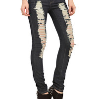 ChiQle Dark Wash Distressed Skinny Jeans | Hot Topic
