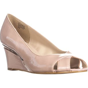KS35 Friscco Peep-Toe Wedge Heels, Blush Patent, 8.5 US