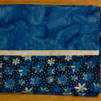 Christmas Holiday Pillowcase - Decorative Pillow Case -Blue and Silver Snowflake PIllow Sham