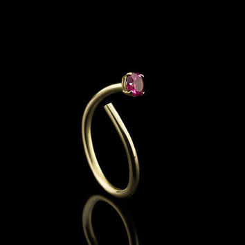 LOVELY RUBELLITE GOLD Open ring in solid Gold with Tourmaline