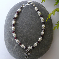 Swarovski Pearl and Garnet Bracelet Free Worldwide Shipping