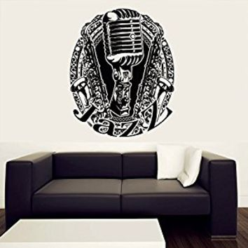 Wall Decal Vinyl Sticker Decals Art Decor Design Music Sign Jazz Microphone Jazz Notes Saxhapone Sax Tube Instrument Bedroom Dorm Love(r420)