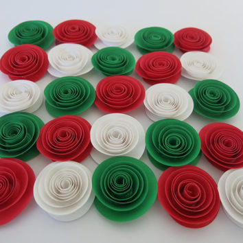 "Italian Restaurant Decorations, Red White and Green paper flowers set of 25, 1.5"" table centerpiece decor, Italy flag colors Mexican wedding"