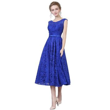 New Arrival Formal Party Evening Dresses Lace-Up Long Gown Lace Beads Tea-length