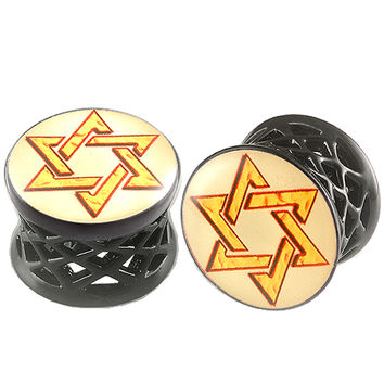 Shield Of David Logo Double-Flared Plug [Gauge: 9/16 inch - 14mm] Alloy (Black) // Set of 2