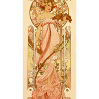White Star Champagne Advertisement by Alphonse Mucha Fine Art Print