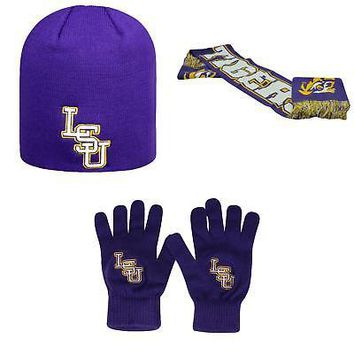 Licensed NCAA LSU Tigers Spirit Scarf TOW Knit Glove And Classic Beanie Hat 3Pk 24321 KO_19_1