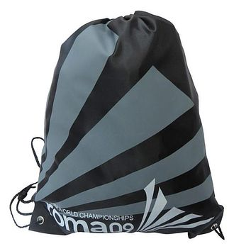 Black and Gray Striped Double Layer Drawstring Waterproof Gym Bag