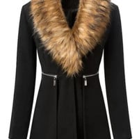 Fur Collar Blazer Coat - Black