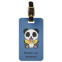 Personalized Little Panda on Blue Luggage Tag