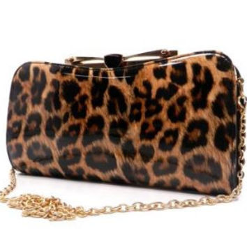 Patent Faux Leather Glossy Leopard Clutch