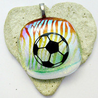 Dichroic Fused Glass Pendant - Stripes Of Color Soccer Ball Pendant