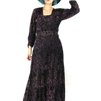 90s Burnout Velvet Maxi Dress Witch Goth Hippie Boho Dress Black Purple Short Sleeve Square Neckline Polka Dot Semi Sheer Velvet Dress (M/L)