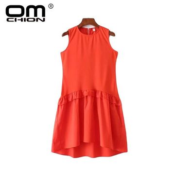 Orange Asymmetrical Sleeveless Dress Women Casual O Neck Keen-Length Dress