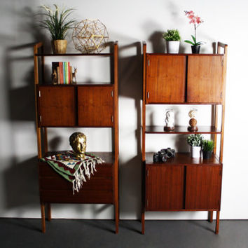 Beautiful Yugoslavian Mid Century Mondern Teak Wall Unit Set