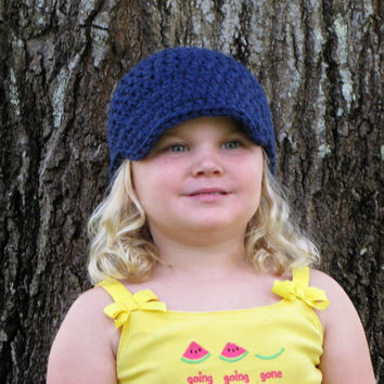 Navy Blue Chunky Crocheted Visor Beanie, Newsboy Hat, Winter Hat, Toddler, Girl's Hat, Women's Hat