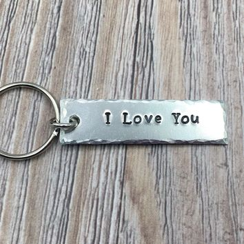 I Love You Hand Stamped Keychain