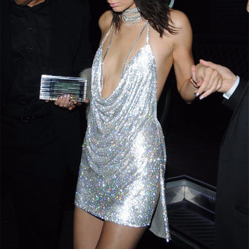 TAUPIN AM Sexy Deep V neck Backless Dress Mini Fashion Chic Glitter Sequin Dress Elegant Kendall Jenner Short Party Dress