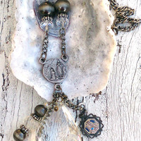 Chandelier Crystal Cross Necklace Religious Medal Antique Silver Assemblage Necklace Christian Jewelry