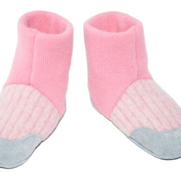 Girl Pink Shoes, Girl Cashmere Slippers, Toddler Cashmere Boots