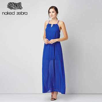 Solid Color Summer Dress Slim Cute Ruffles Designed Sleeveless Ankle-Length Sundresses Cover Leg Dress