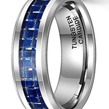 CERTIFIED 8mm Blue Carbon Fiber Tungsten Carbide Ring Beveled Edge Wedding Band