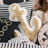 The Emily + Meritt Gold Anchor Pillow