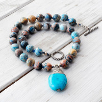 Necklace - Imperial Jasper Necklace with Turquoise Pendant