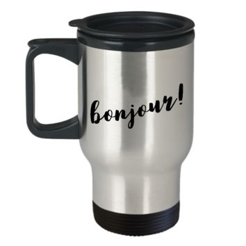 Bonjour Travel Mug Stainless Steel Insulated Travel Coffee Cup with Lid