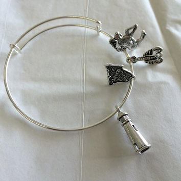 Alex and Ani Inspired Expandable Maine Silver Bangle with State Of Maine, Moose, Lighthouse and Lobster Charms