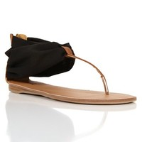 Black/Tan Stretch Fabric Sandals