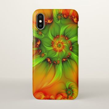 Hot Summer Green Orange Abstract Colorful Fractal iPhone X Case