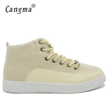 CANGMA Original Luxury Casual Shoes Men Sneakers Autumn Handmade Man Fashion Hemp High Leisure Shoes Male Vintage Beige Trainers