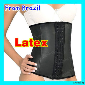 BRAZILIAN WAIST TRAINER SLIM BODY SHAPER CORSET LATEX RUBBER CINCHER FIRM BELT