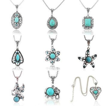 Vintage Crystal Turquoise Necklaces Butterfly/Flower/Hollow Tree/Heart Shape  Pendant