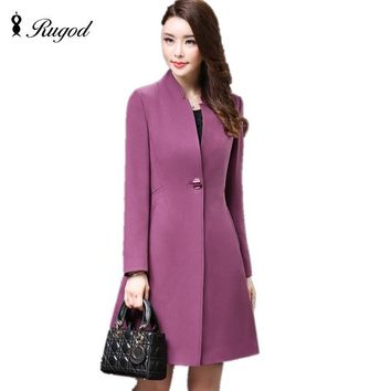 Women's Coats 2017 Winter Trench Coats Solid Plus Size Overcoat Autumn Long Sleeve Stand Collar Slim Windbreaker Outerwear