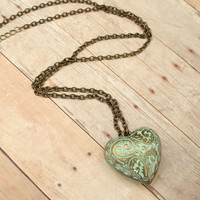 Mint Paisley Chain Necklace