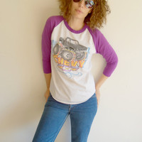 Vintage White and Purple Raglan Baseball Tee with Airbrushed Chevy Truck