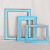 Set of 3 Distressed Turquoise Wooden Picture Frames