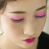 LED Eyelashes Eyelid False Eyelashes LED Light Eye Lash Luminous Shining Eyelash for Party Bar Makeup Eye Lash Eyelid P0194