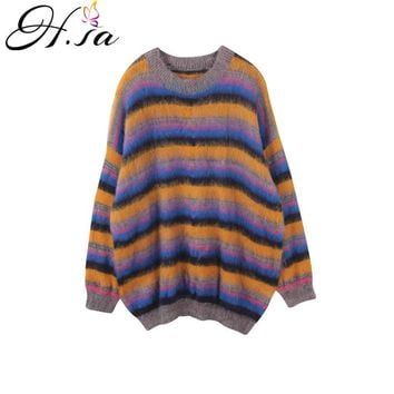 H.SA 2017 Women Casual Pull Sweaters Oneck Long Sleeve Rainbow Stripe Knitting Pullover and Jumpers Mohair Warm Sweaters Winter