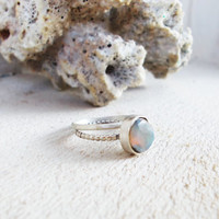 Genuine black opal sterling silver stacking ring set, precious gemstone, beaded ring band, minimalist forged artisan jewelry size 6