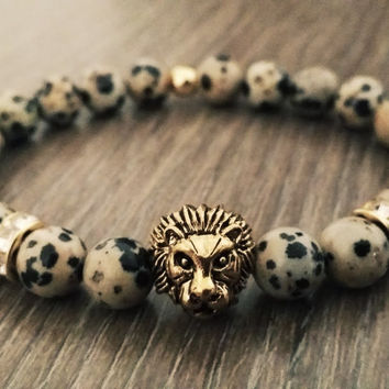 Men's Bracelet- Golden tiger Dalmatian Jasper Stone Beaded bracelet- Man Jewelry