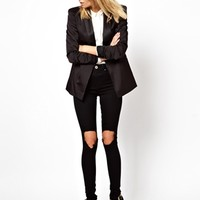 ASOS Ridley High Waist Ultra Skinny Jeans in Clean Black with Busted K
