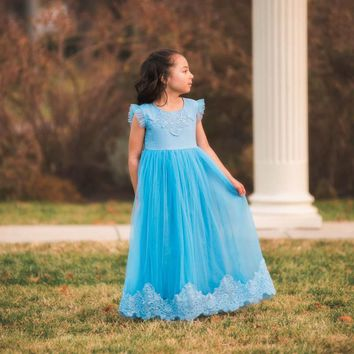 Aletta Little Boy Blue Sweetheart Lace & Tulle Gown Dress